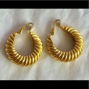 Vintage gold hoop clip on earrings